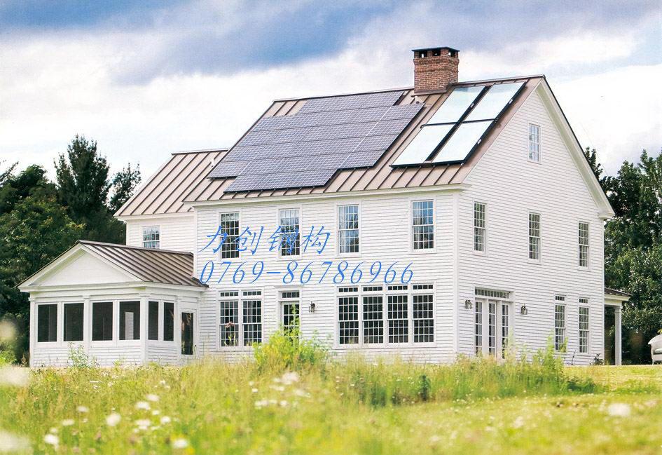 农场别墅   二层带阁楼别墅,   轻钢结构设计带pvc挂板,   奶牛房采用